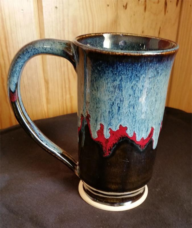 glazed three colored mug